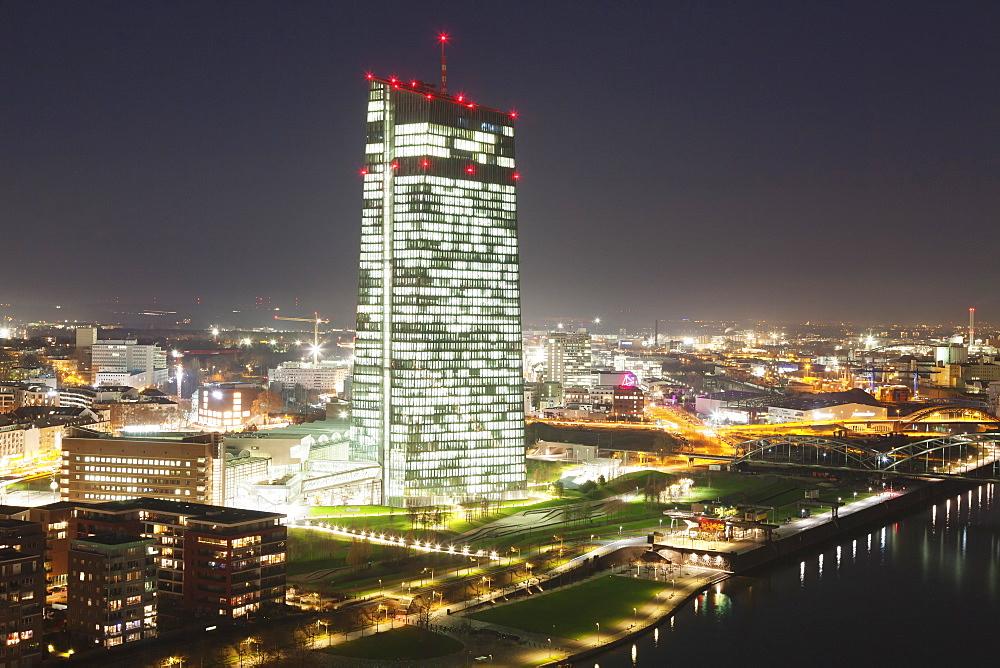European Central Bank and Osthafen port, Frankfurt, Hesse, Germany, Europe