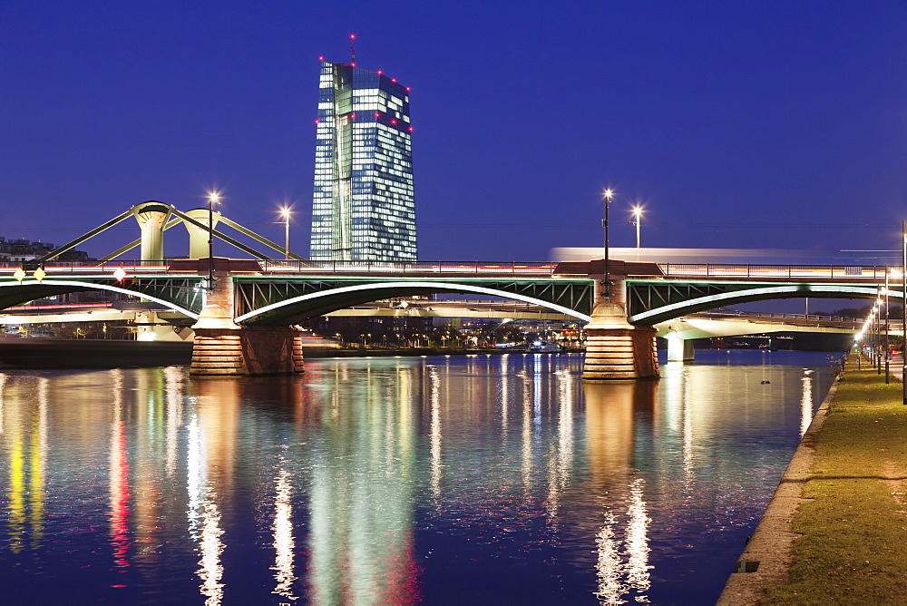 View over Main River to Ignatz Bubis Bridge and European Central Bank, Frankfurt, Hesse, Germany, Europe