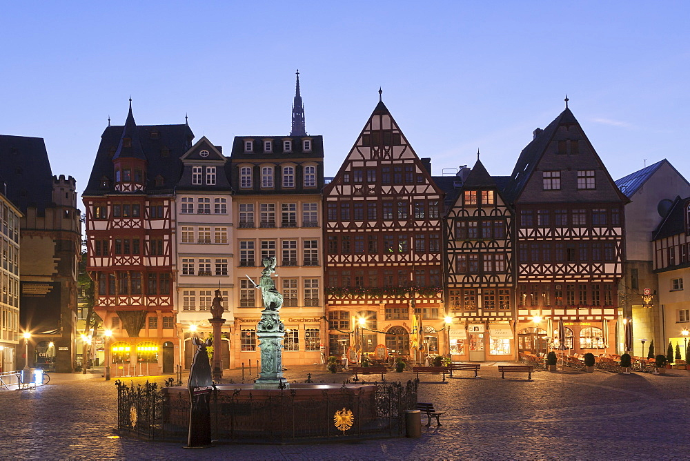 Half-timbered houses and Justitia Fountain at Roemerberg square, Frankfurt, Hesse, Germany, Europe
