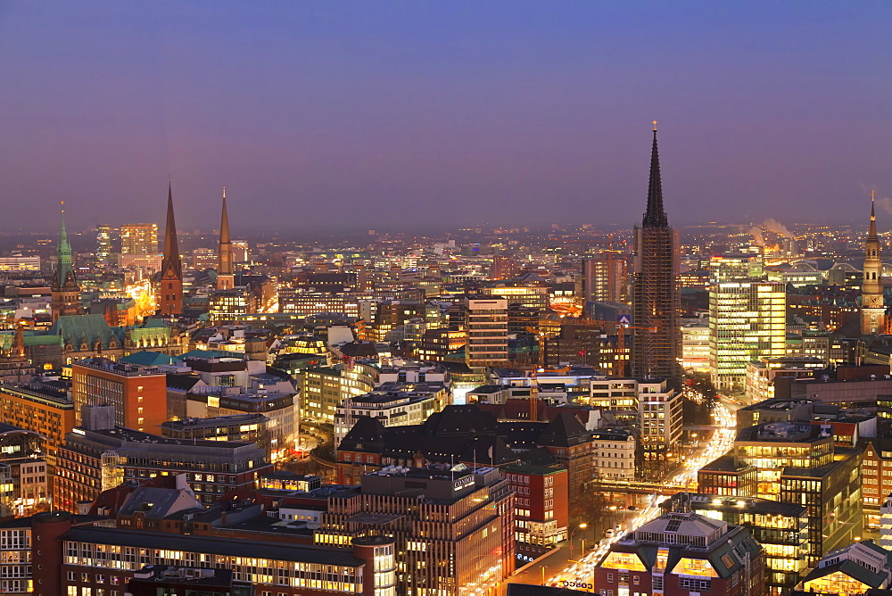 View over the city center at night, Hamburg, Hanseatic City, Germany