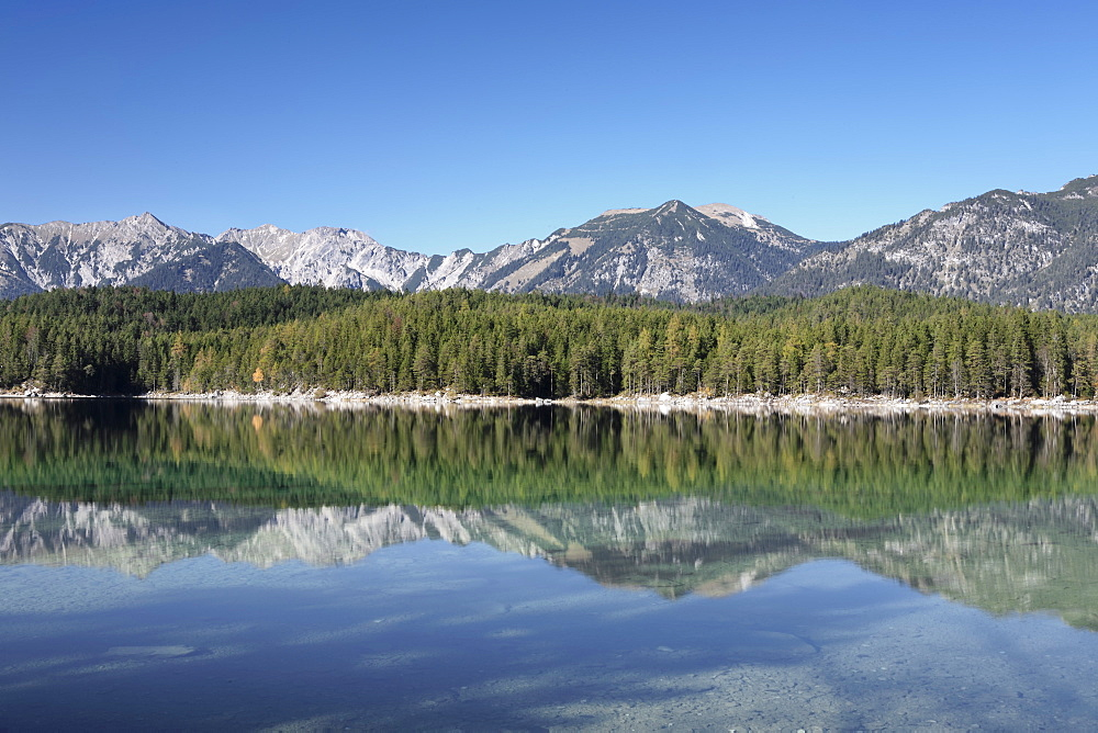 Reflections, Eibsee lake, Bavaria, Germany, Europe