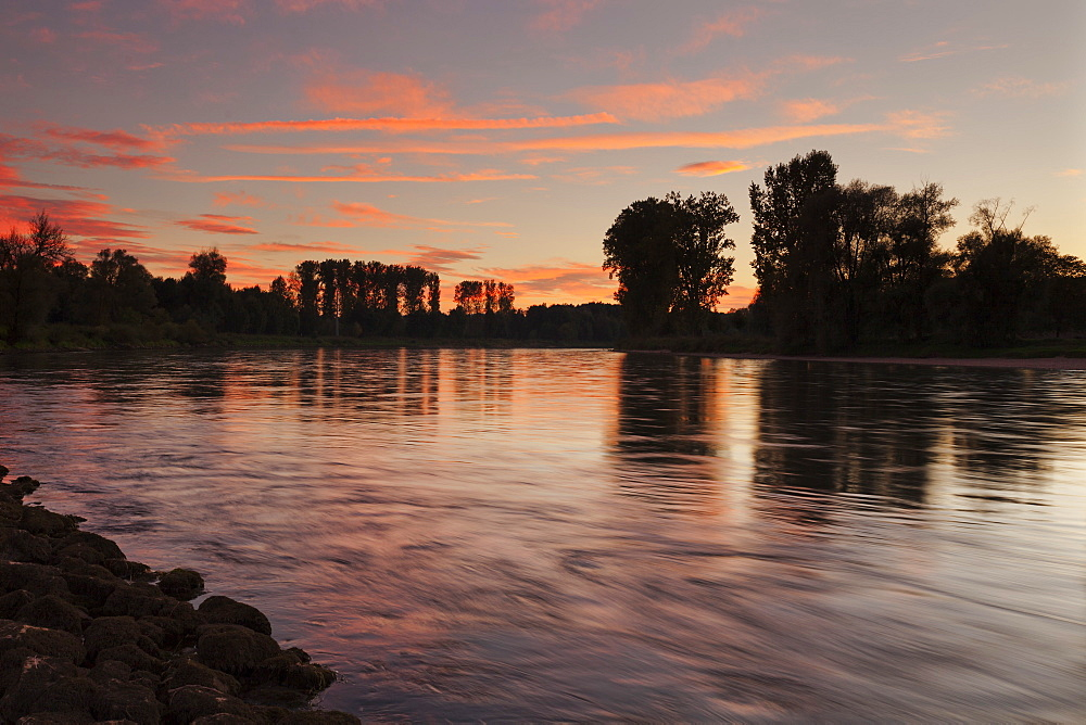 Danube river at sunset, near Weltenburg Monastery, Kelheim, Bavaria, Germany