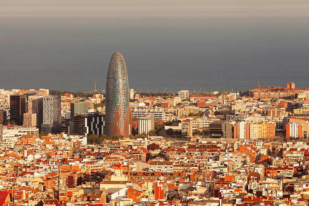 View over Barcelona with Torre Agbar Tower, Architect Jean Nouvel, Barcelona, Catalonia, Spain