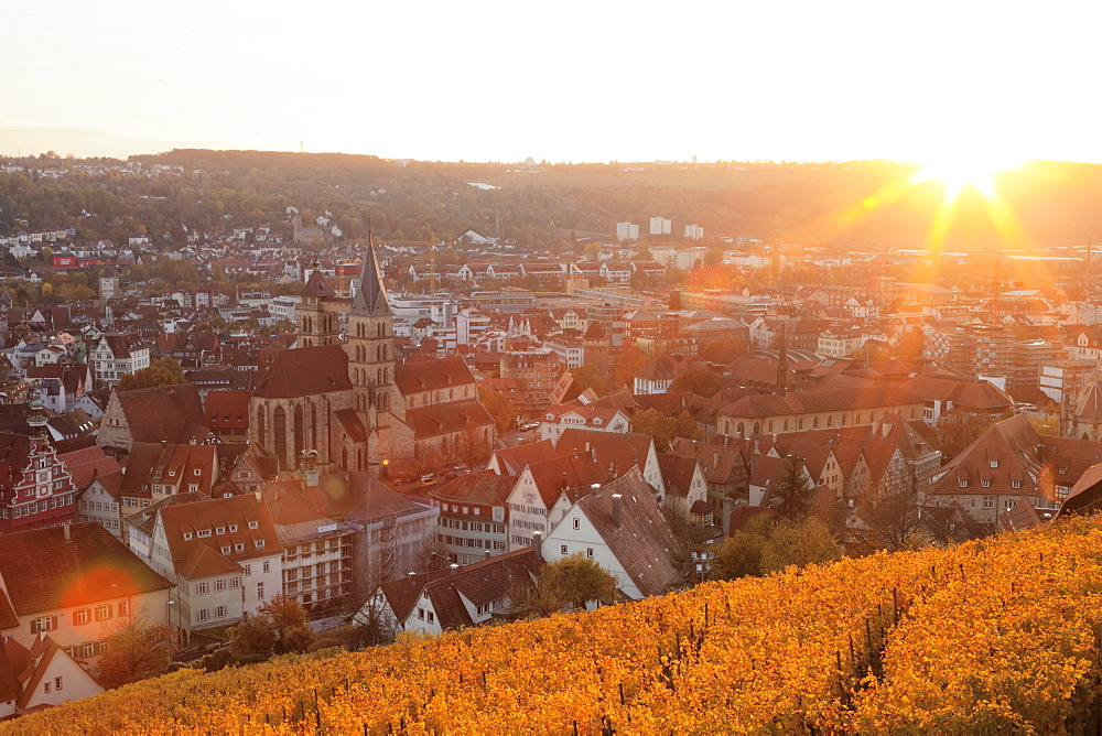 View from the castle over Esslingen at sunset, Esslingen, Baden-Wurttemberg, Germany, Europe