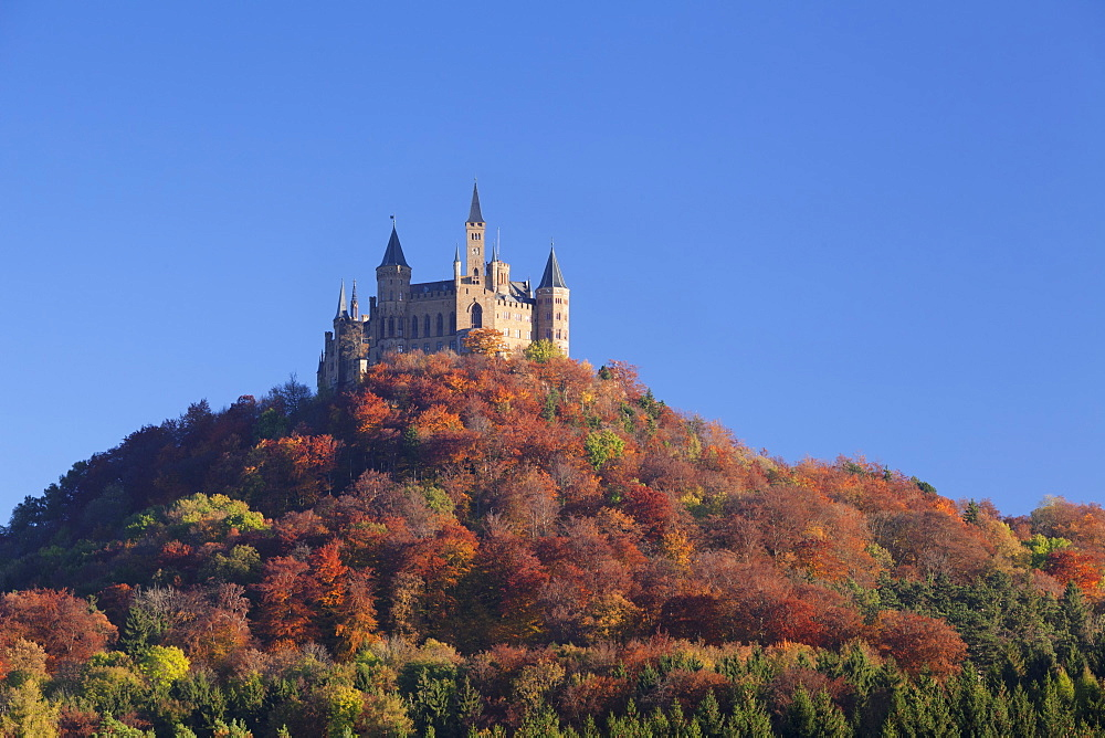 Hohenzollern Castle in autumn, Swabian Alps, Baden-Wurttemberg, Germany, Europe