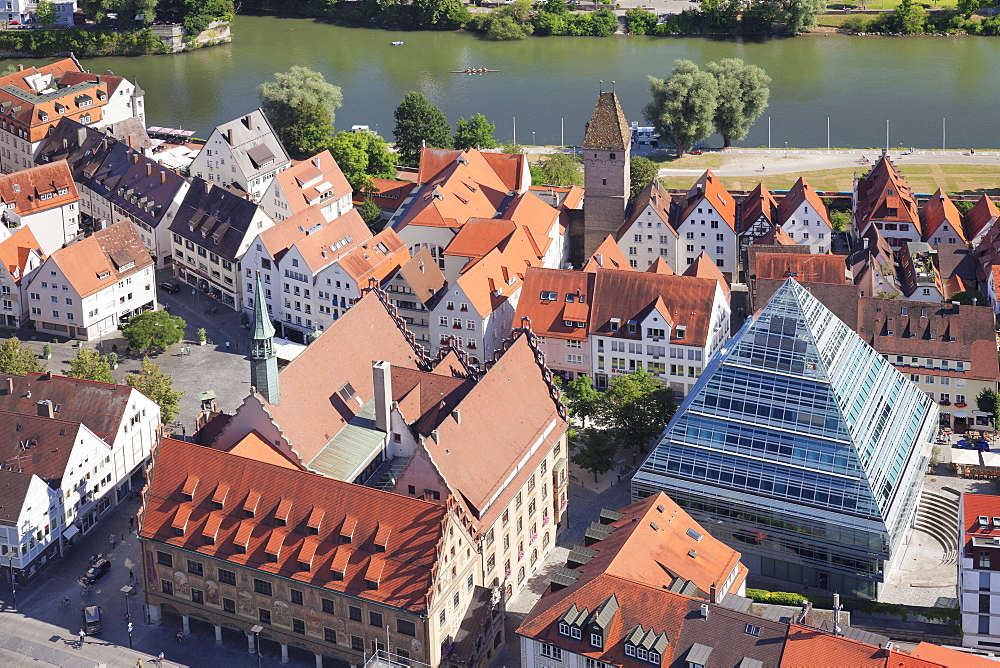 View from Ulm Minster over the old town with town hall and and new central library, Ulm, Baden-Wurttemberg, Germany, Europe