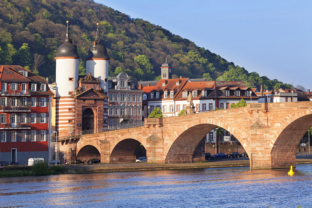 Karl-Theodor-Bridge (Old Bridge) and Gate, Heidelberg, Baden-Wurttemberg, Germany, Europe