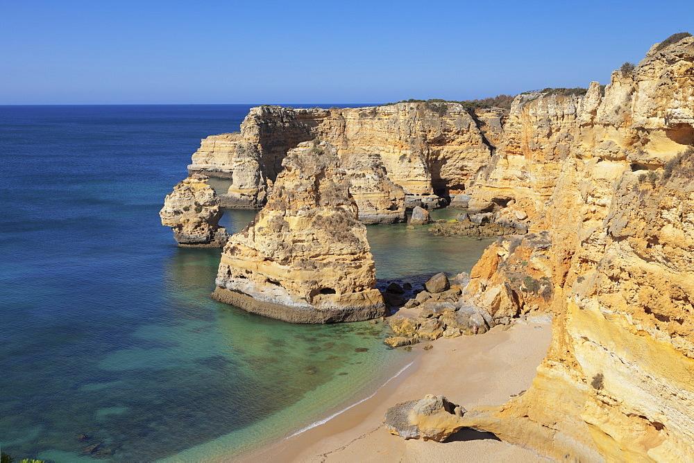 Praia da Marinha beach, rocky coast, Lagoa, Algarve, Portugal