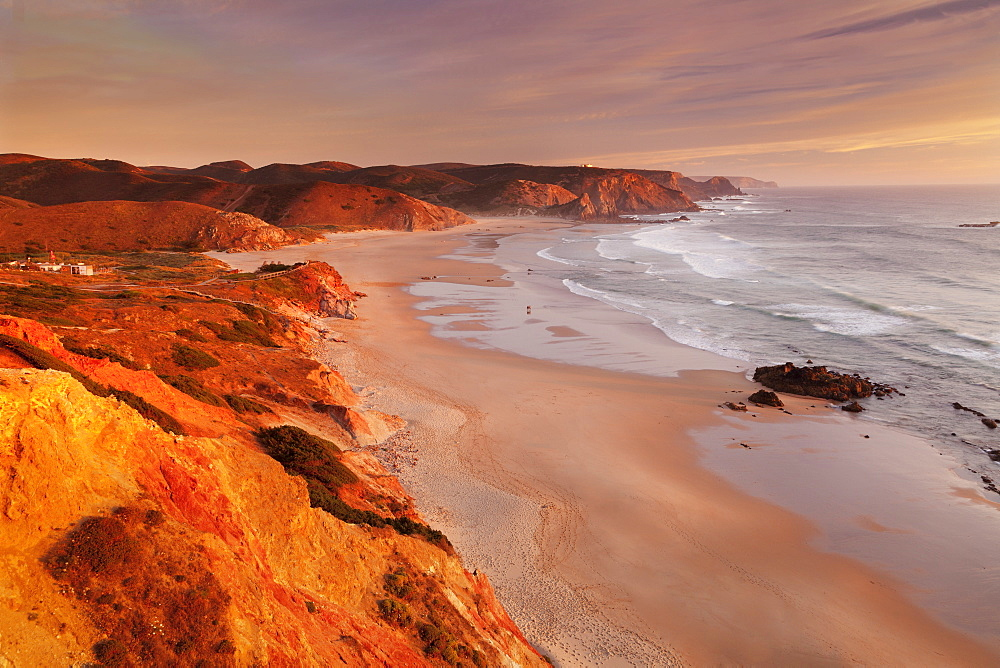 Praia do Amado beach at sunset, Carrapateira, Costa Vicentina, west coast, Algarve, Portugal