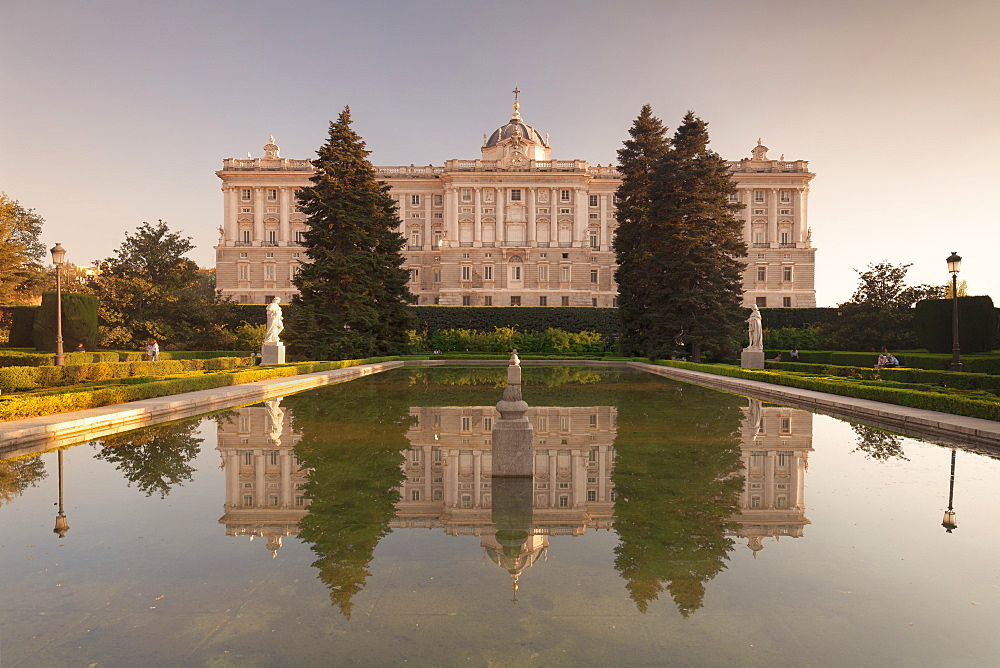 Royal Palace ( Palacio Real), view from Sabatini Gardens (Jardines de Sabatini), Madrid, Spain, Europe
