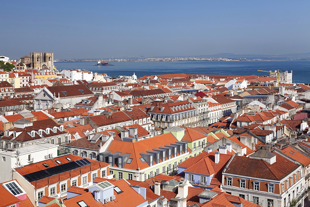 View over the old town to Se cathedral and Tejo River, Lisbon, Portugal