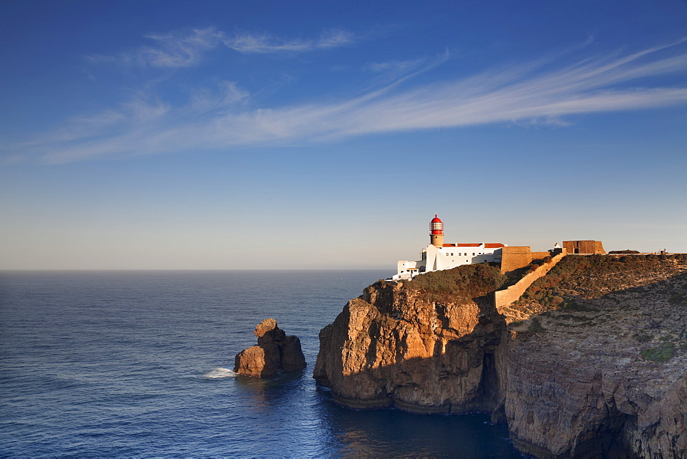 Lighthouse at Cabo de Sao Vicente at sunrise, Sagres, Algarve, Portugal, Europe