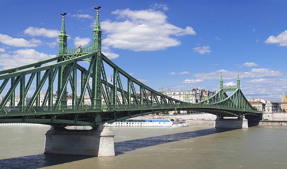 Liberty Bridge, Danube River and Pest, Budapest, Hungary, Europe