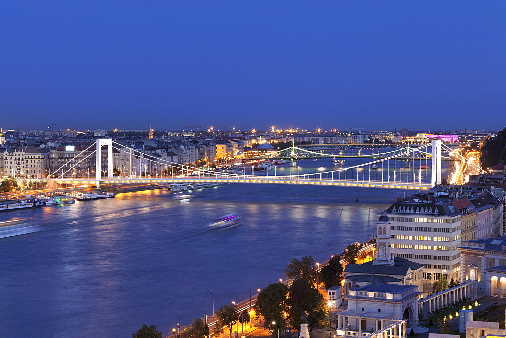View over Danube River to Elisabeth Bridge and Liberty Bridge, Budapest, Hungary, Europe