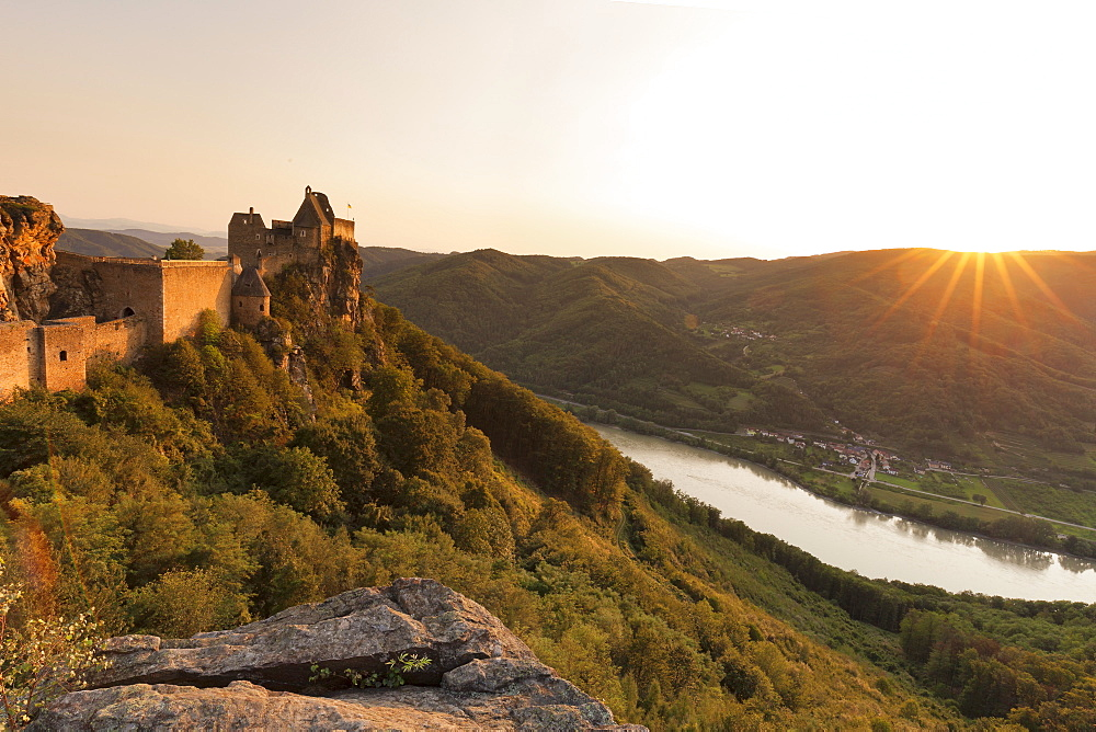 Aggstein Castle Ruin on Danube River at Sunset, Cultural Landspace Wachau, UNESCO Wolrd Heritage, Austria