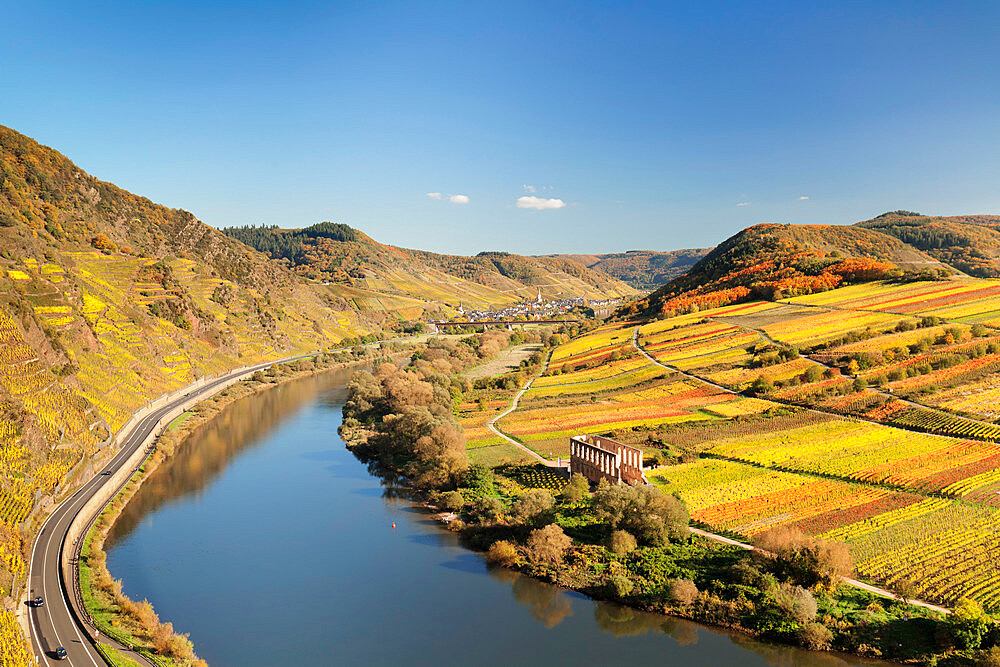 Loop of Moselle River near Bremm with ruined abbey Stuben, Rhineland-Palatinate, Germany - 1160-3769