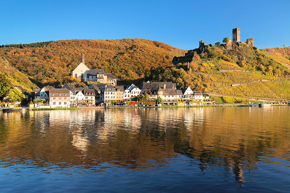 Town of Beilstein with Metternich Castle ruins on Moselle River, Rhineland-Palatinate, Germany, Europe - 1160-3773