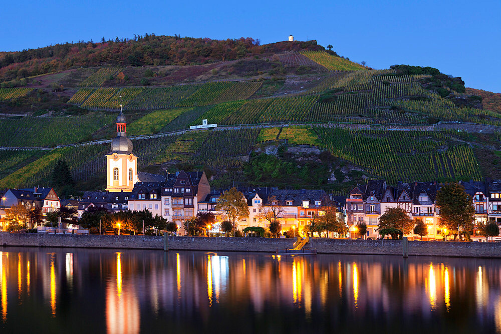 View over Moselle River to Zell, Collis Turm Tower, Rhineland-Palatinate, Germany - 1160-3777
