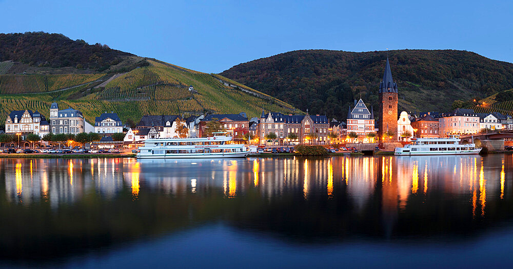 Bernkastel-Kues reflected in Moselle River, Rhineland-Palatinate, Germany - 1160-3799