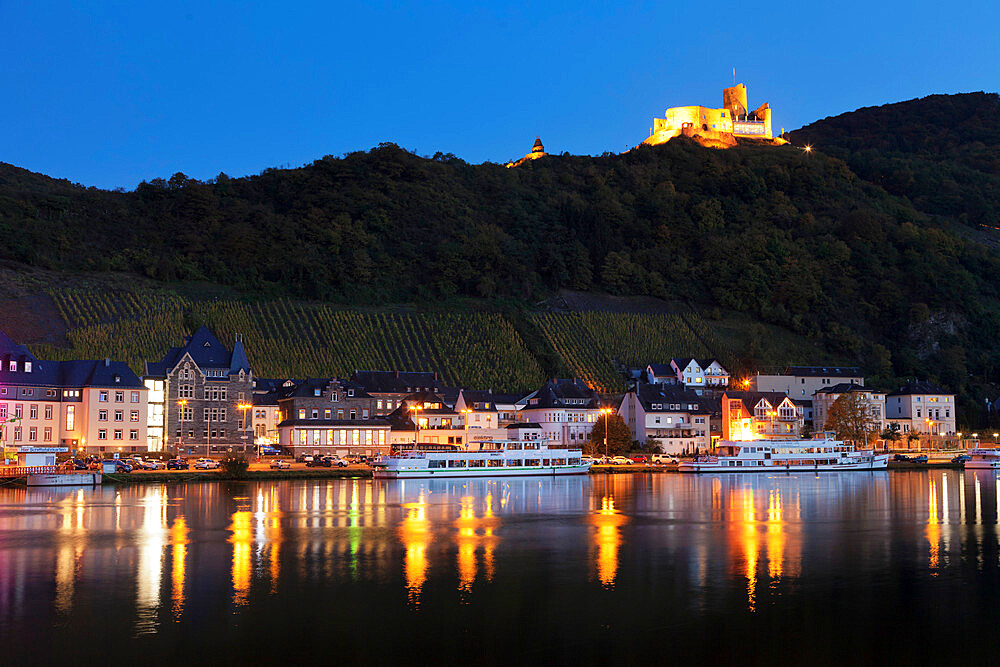 View over Moselle River to Bernkastel-Kues, Ruins of Landshut Castle,Rhineland-Palatinate, Germany - 1160-3800
