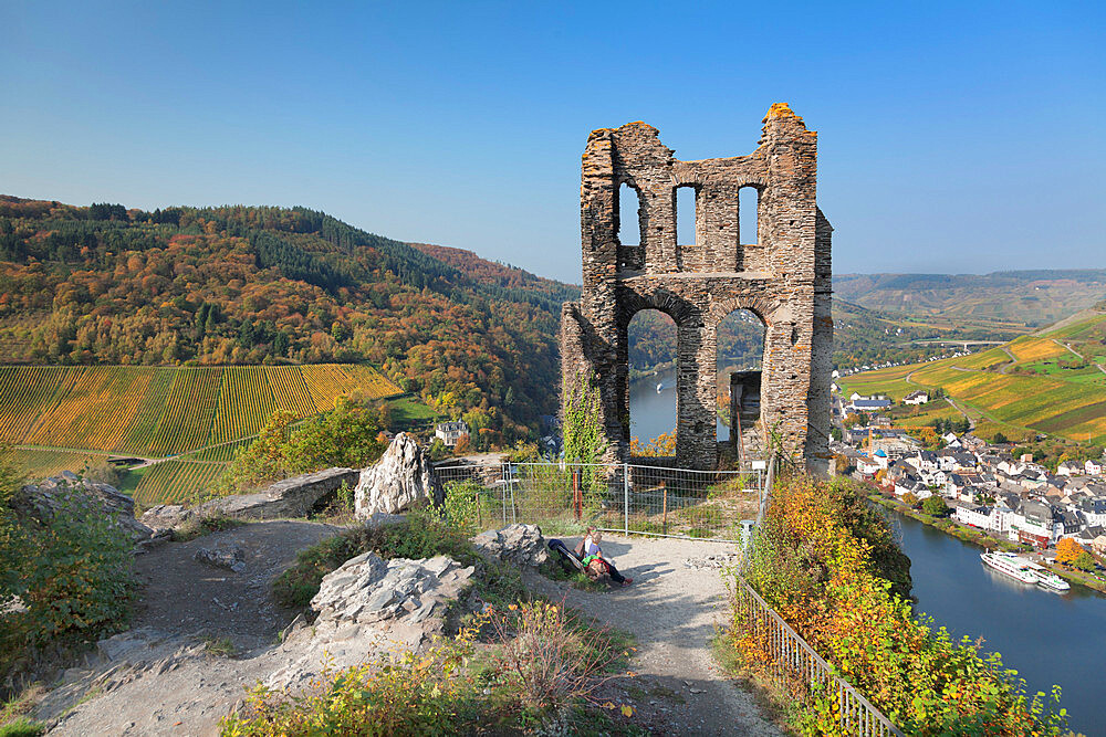 Grevenburg Ruins overlooking Traben-Trarbach, Moselle Valley, Rhineland-Palatinate, Germany - 1160-3804