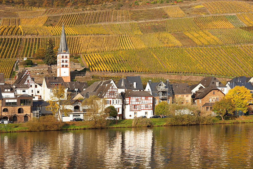 View of Merl district, Moselle Valley, Zell an der Mosel, Rhineland-Palatinate, Germany - 1160-3807