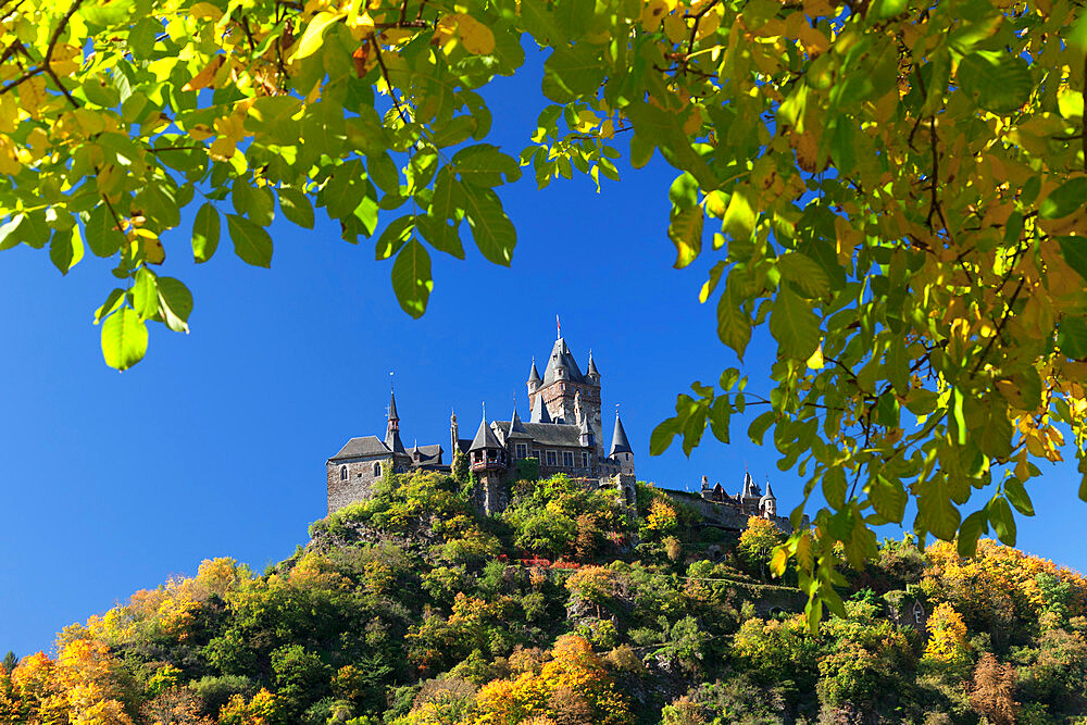 Reichsburg Castle in autumn, Cochem, Moselle valley, Rhineland-Palatinate, Germany - 1160-3814