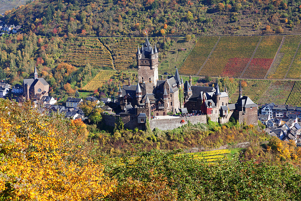 Reichsburg Castle, Cochem, Moselle valley, Rhineland-Palatinate, Germany - 1160-3815
