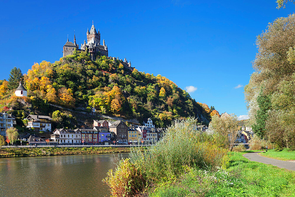 View over Moselle River to Reichsburg Castle, Cochem, Rhineland-Palatinate, Germany - 1160-3817