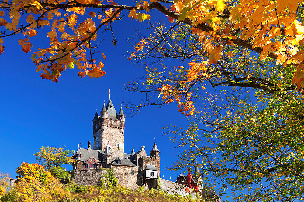 Reichsburg Castle in autumn, Cochem, Moselle Valley, Rhineland-Palatinate, Germany, Europe - 1160-3819