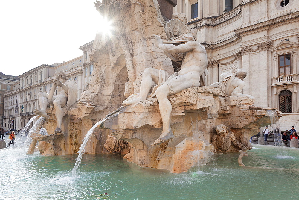 Fontana dei Quattro Fiumi Fountain, Architect Bernini, Piazza Navona, Rome, Lazio, Italy, Europe - 1160-3845