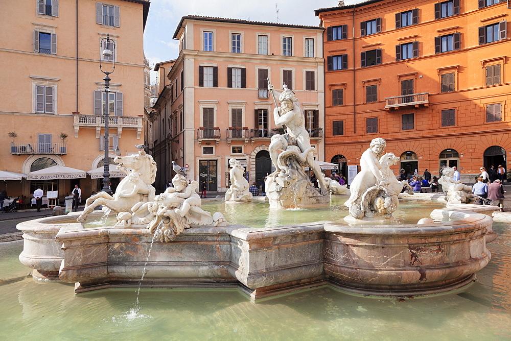 Neptune Fountain (Fontana del Nettuno), Piazza Navona, Rome, Lazio, Italy, Europe - 1160-3846