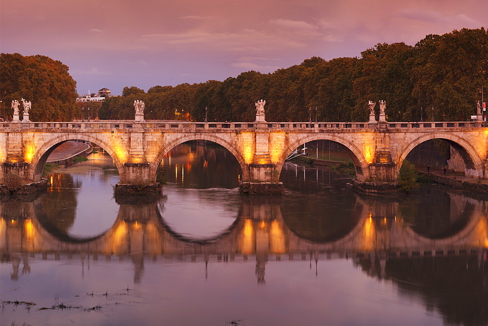 Ponte Sant'Angelo Bridge reflected in Tiber River at sunset, Rome, Lazio, Italy, Europe - 1160-3895