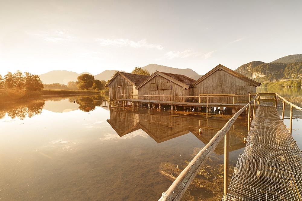 Boathouses at Kochelsee Lake at sunrise, Upper Bavaria, Bavaria, Germany - 1160-3926