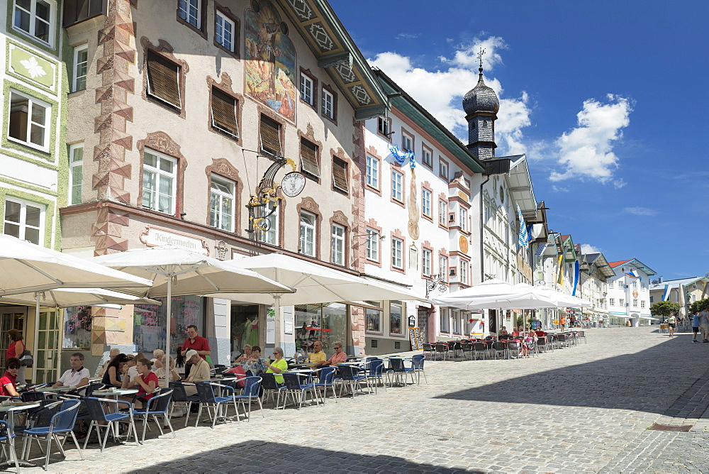 Street cafes, pedestrian zone, Bad Toelz, Upper Bavaria, Bavaria, Germany, Europe
