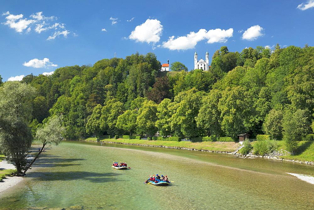 View over Isar River to Kalvarienberg, Calvary hill, Bad Toelz, Upper Bavaria, Bavaria, Germany - 1160-3932