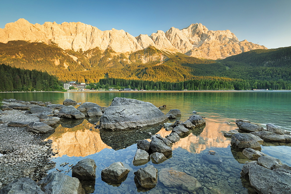 Eibsee Lake, Eibsee Hotel and Wettersteingebirge Mountains, near Grainau, Werdenfelser Land range, Upper Bavaria, Bavaria, Germany - 1160-3943