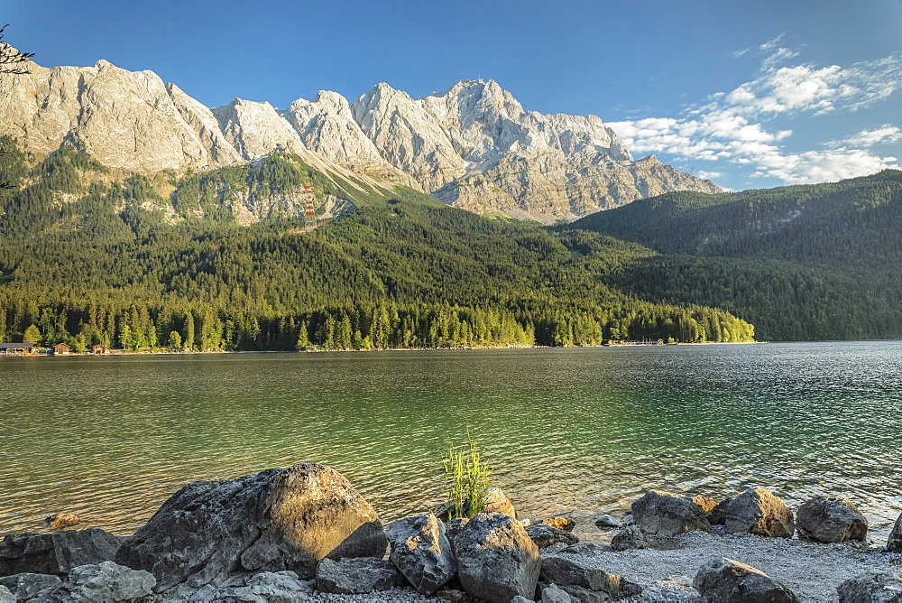 Eibsee Lake and Zugspitze Mountain, near Grainau, Werdenfelser Land range, Upper Bavaria, Bavaria, Germany - 1160-3945
