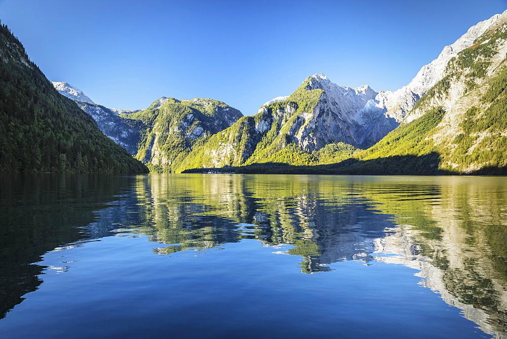 Lake Koenigssee, Watzmann Mountain, Berchtesgadener Land, Berchtesgaden National Park , Upper Bavaria, Bavaria, Germany - 1160-3951