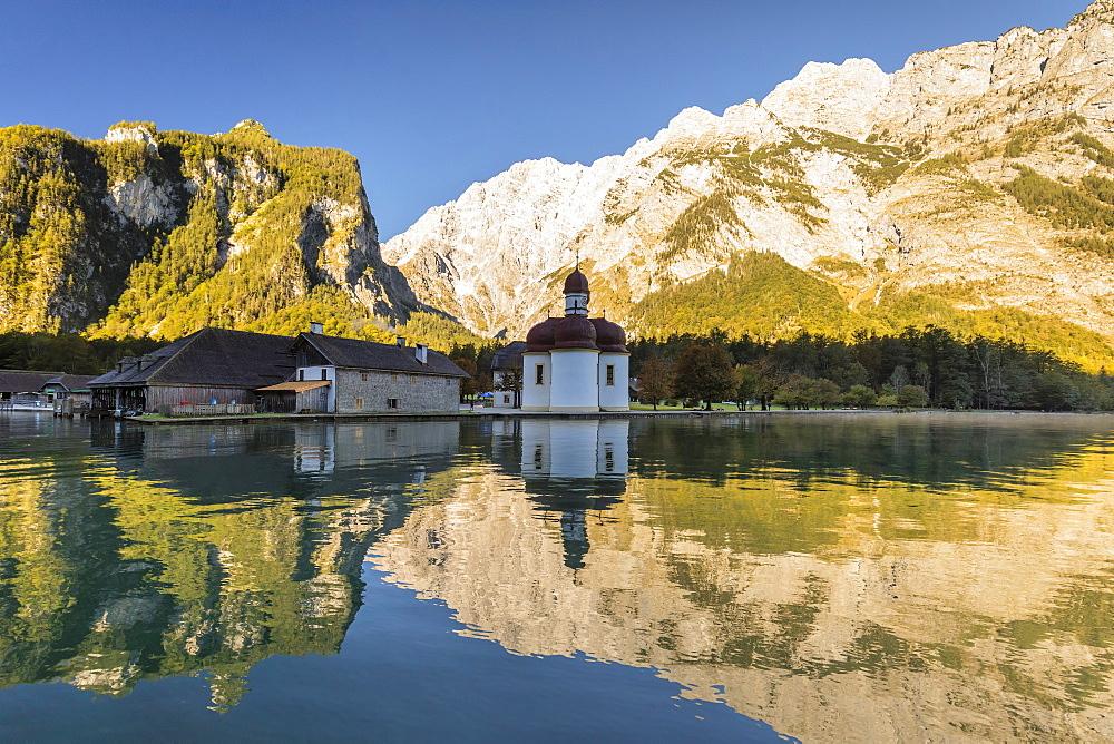 St. Bartholomew on Lake Koenigssee, Watzmann Mountain, Berchtesgadener Land, Berchtesgaden National Park , Upper Bavaria, Bavaria, Germany - 1160-3953