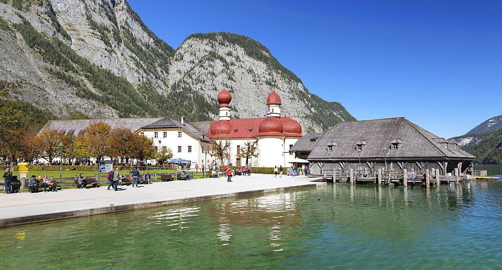 St. Bartholomew's church, Lake Koenigssee, Berchtesgadener Land, Berchtesgaden National Park , Upper Bavaria, Bavaria, Germany - 1160-3957