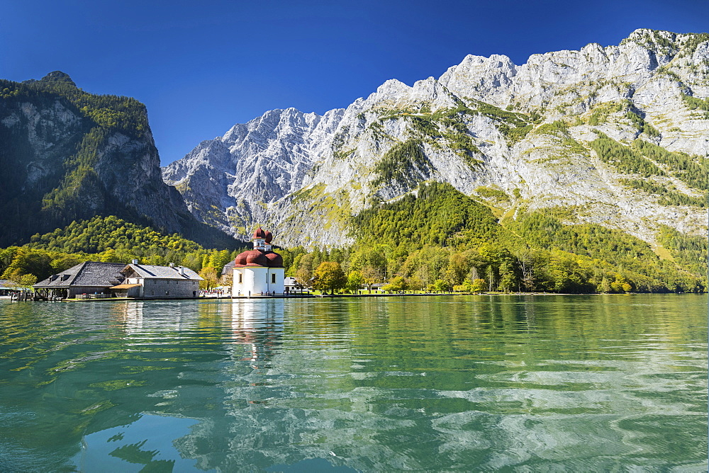 St. Bartholomew, Lake Koenigssee, Watzmann Mountain, Berchtesgadener Land, Berchtesgaden National Park , Upper Bavaria, Bavaria, Germany - 1160-3959