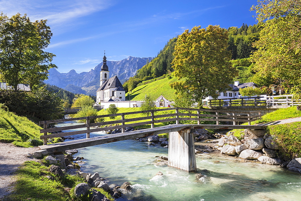 Church by Ramsauer Ache river in Bavaria, Germany, Europe