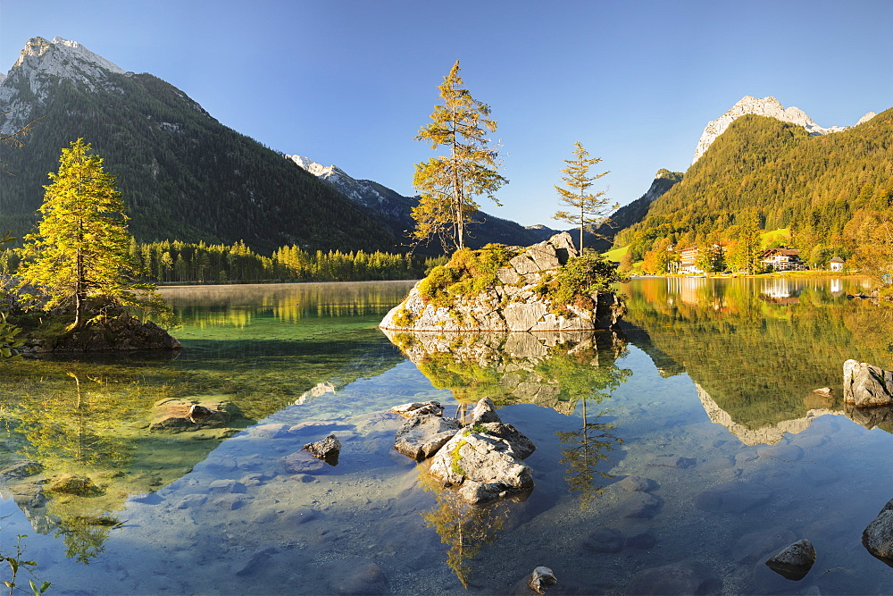 Hintersee Lake at sunrise, Hochkalter Mountain (2607m), Ramsau, Berchtesgaden National Park, Upper Bavaria, Germany