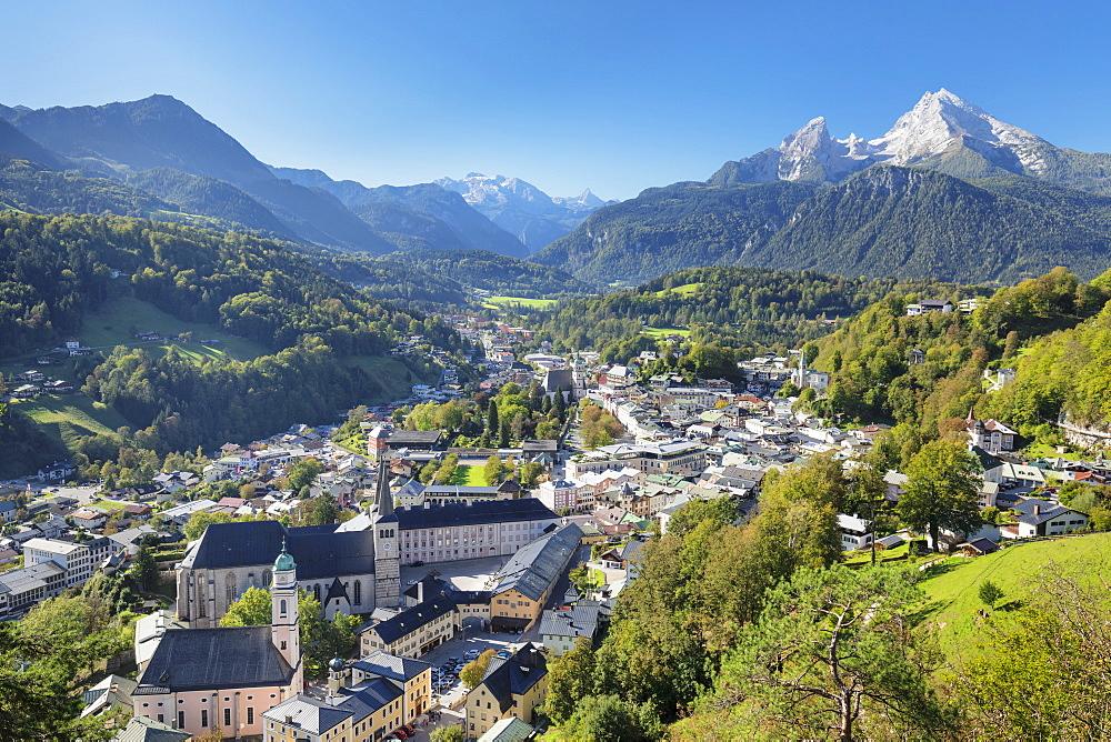 View over Berchtesgaden to Church of St.Peter and Watzmann Mountain, Berchtesgaden, Upper Bavaria, Bavaria, Germany - 1160-3971