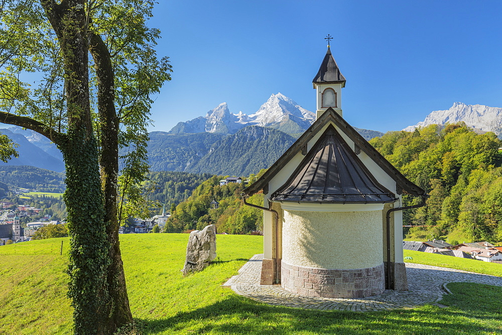 Chapel at Lockstein Mountain, Watzmann Mountain in the background, Berchtesgaden, Upper Bavaria, Bavaria, Germany - 1160-3973