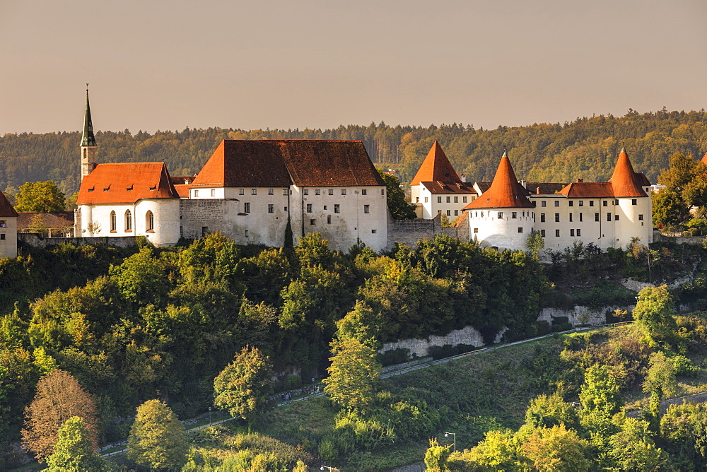 Castle at sunset, Burghausen, Upper Bavaria, Bavaria, Germany