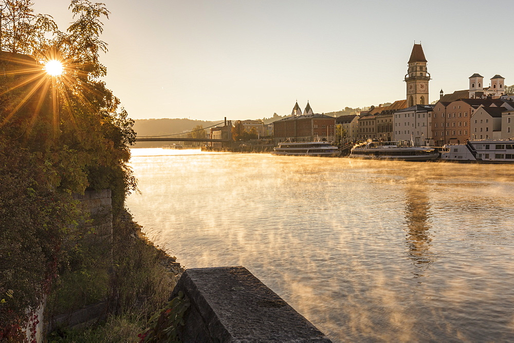 Danube river at sunrise in Passau, Germany, Europe