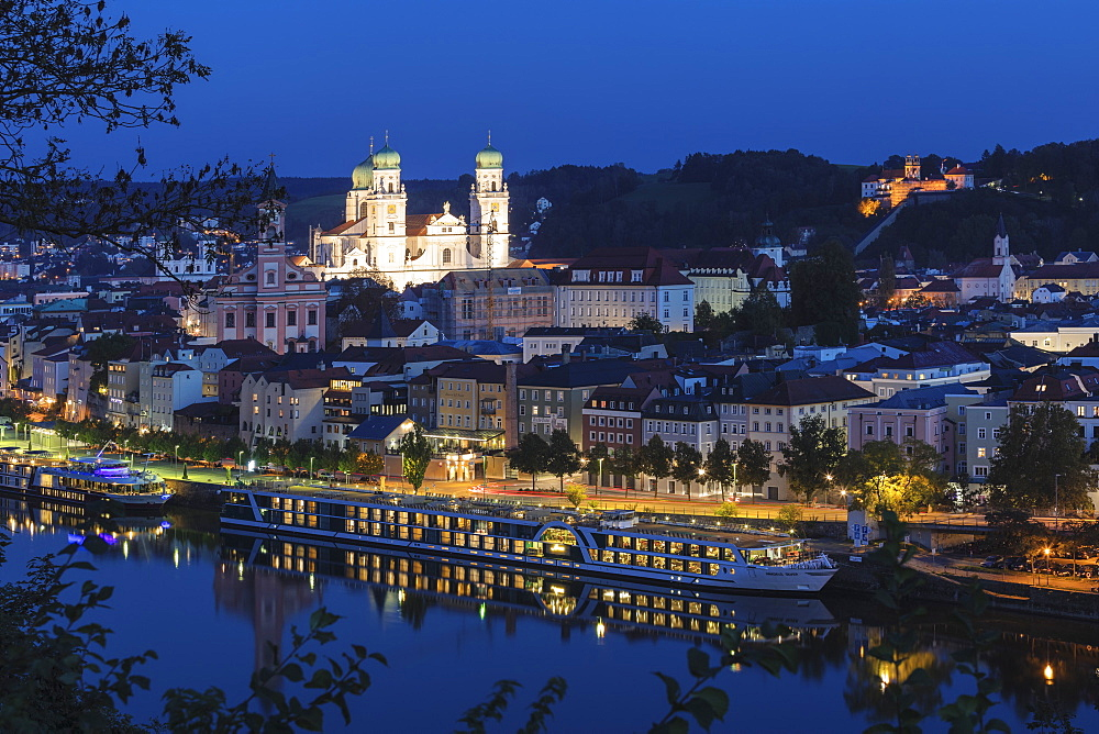 Cityscape at night in Passau, Germany, Europe