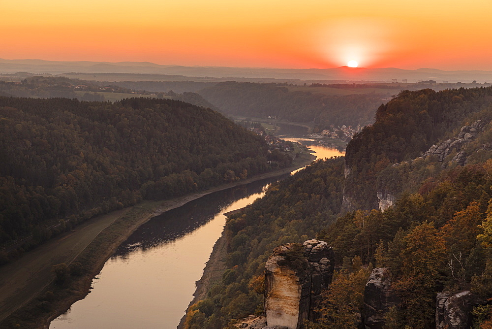 View from Bastei Rock Formation to Elbe River at sunset, Elbsandstein Mountains, Saxony Switzerland National Park, Saxony, Germany